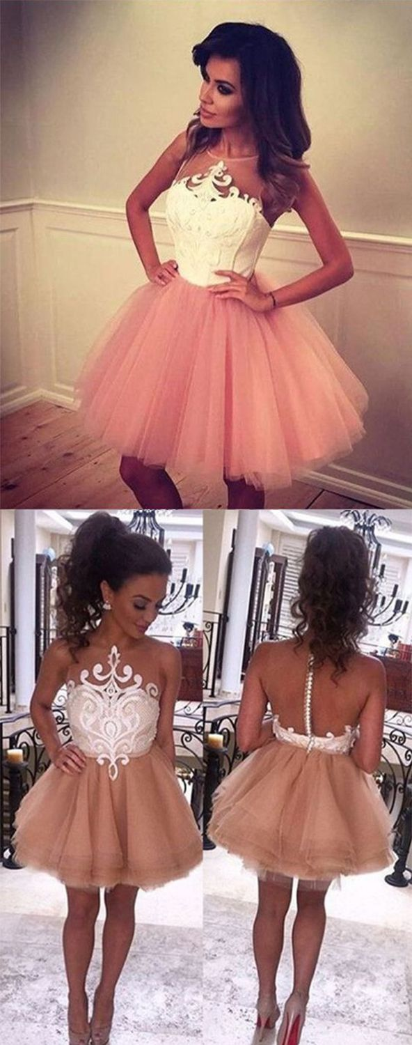 A-Line Jewel Evening Dress,Sleeveless Short Champagne Prom Dress With White Lace,Short/Mini Prom Dresses,Sweet 16 Cocktail Dress,Homecoming Dress,HU78