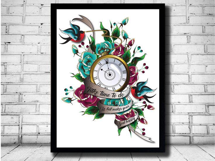 tattoo swallow print, tattoo clock print, vintage clock, tattoo scroll, traditional tattoo art, tattoo wall graphic, rockabilly art