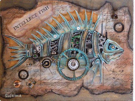 Картина панно рисунок Ассамбляж Картонный стимпанк Рыбка Картон Материал бросовый фото 1