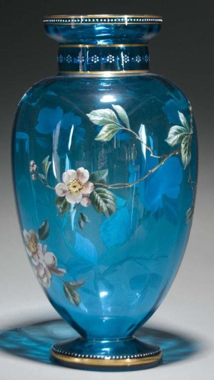 """Circa 1915. Has beaded decoration. Reference: Plate 139 in """"Moser Artisitc Glass Edition Two"""". Condition (Excellent). Size 17"""" T."""