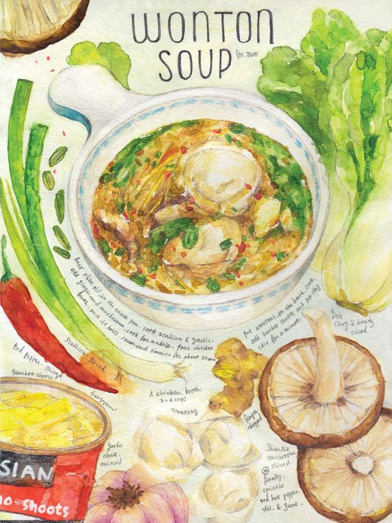 Wonton soup print of watercolor painting kitchen art by Heegyum