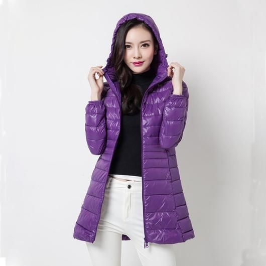 Womens Winter Coat Jacket  Lady Parka Ultra-light Outerwear This women's jacket is made from thin, warm ultra-light down material. The shell has a glossy sheen for a sporty style, and narrow quilt stitching adds a feminine touch.