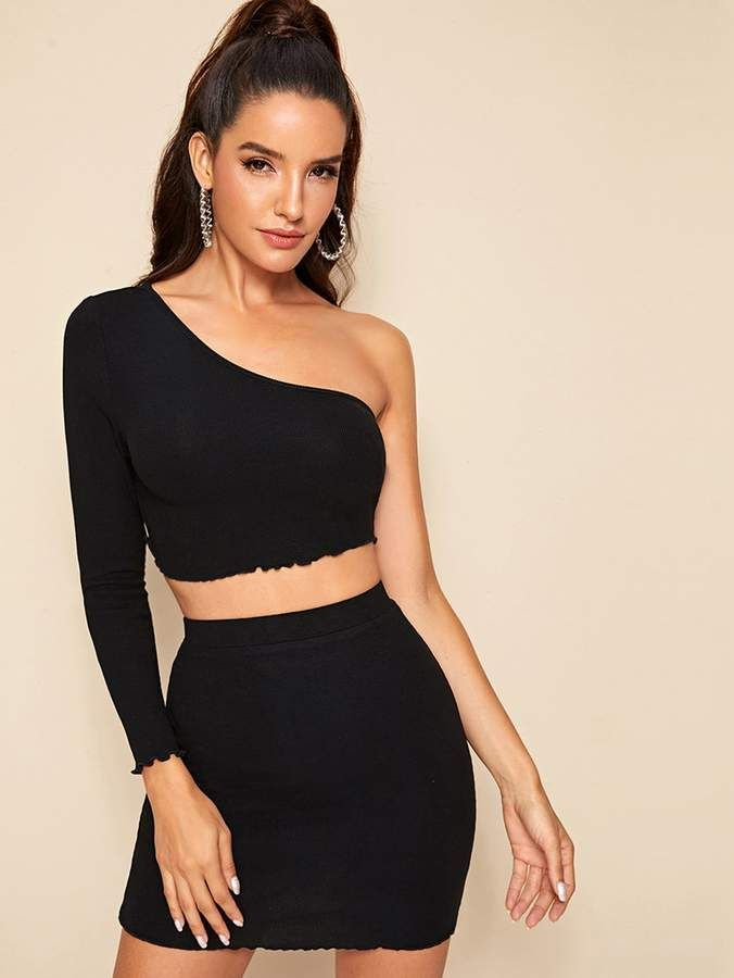 Shein One Shoulder Lettuce Edge Top and Bodycon Skirt Set