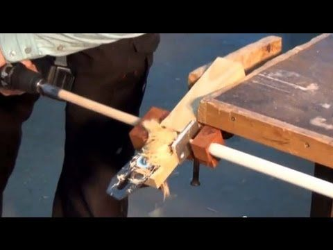Dowel maker using a plane blade and an electric drill.
