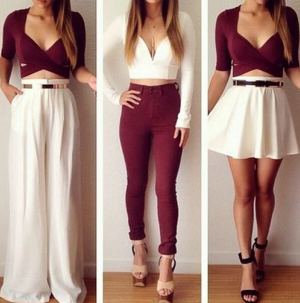 outfits in white + maroon