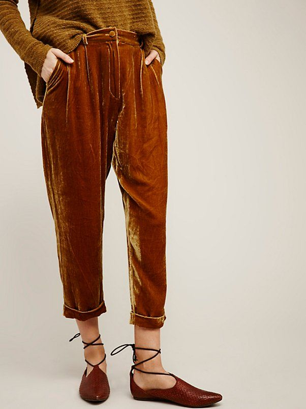 Vincenzo Pants | In a crushed velvet and beautiful jewel tones these ankle pants are featured in a slouchy and relaxed fit. Hip pockets with a button…