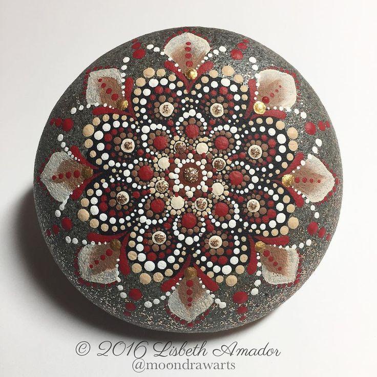 Red, mandala rock, ☺️ #moondrawarts #mandala #mandalas #paintedrocks #art #rocks  #meditation