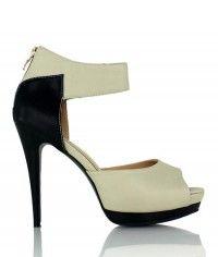Prague - Women's black bone beige nude leather-textured platform sandal high heels $129.00 #shoeenvy #shoes #fashion #instalove #pretty #ethical #glamorous