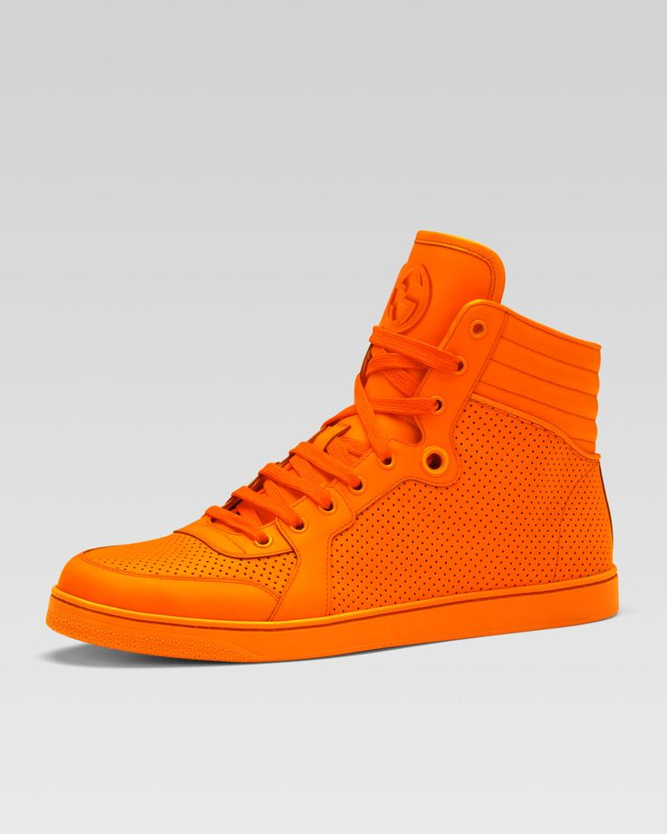 Gucci Coda Neon Leather High-Top Sneaker, Orange - Bergdorf Goodman