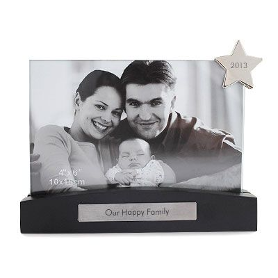 """6""""x4"""" Frame on Black Base with Star Metal Clip #thingsengraved #thingsengravedgifts"""