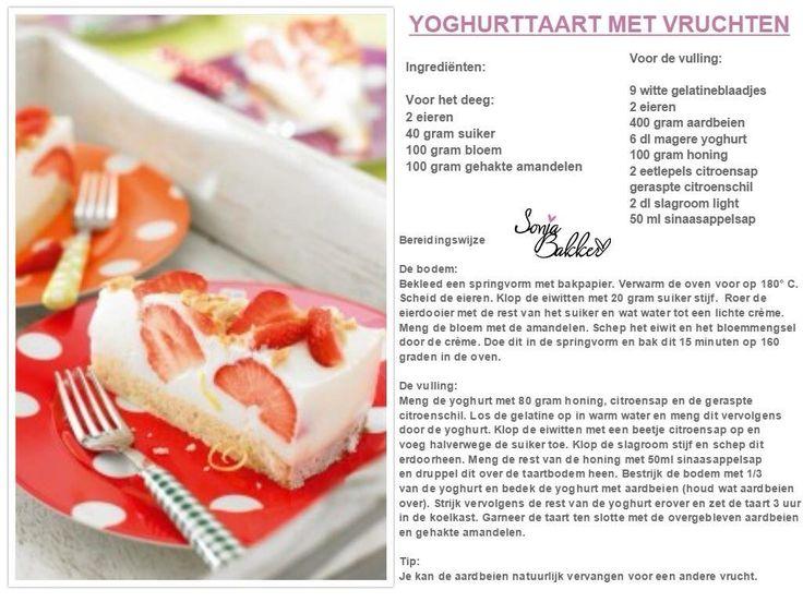 YOGHURTTAART MET VRUCHTEN! Ben je jarig of heb je wat te vieren?  Probeer dan deze taart! Hij is heerlijk en verantwoord! Welke taart eet jij het liefst? www.sonjabakker.nl