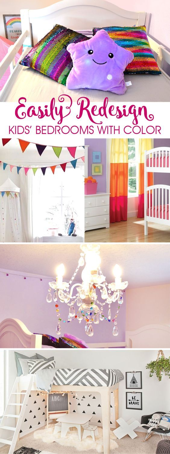 It's easy to inexpensively brighten up kids' bedrooms with a few pops of color. Make a pennant banner, add modern fabric details, paint a bright accent wall, or hang up a rainbow chandelier!