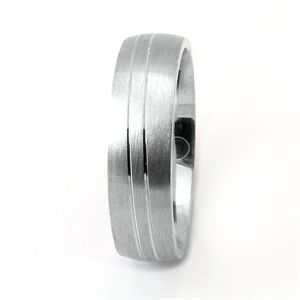 Silver, Gold, and Diamond Jewellery - Morika Jewellery-Men's 6mm Sterling Silver Matte Finish and twin grooves in wave pattern Wedding Ring