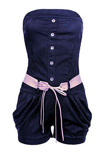 #Laeticia #Dreams #Damen #Overall #Kurz #S #M #L #XL, #Farbe:Marineblau