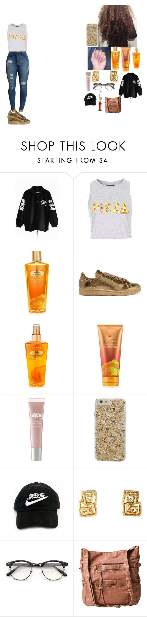 """~ pizza right ? ~"" by foodislyfe ❤ liked on Polyvore featuring Victoria's Secret, adidas Originals, Origins, Case-Mate and ZeroUV"