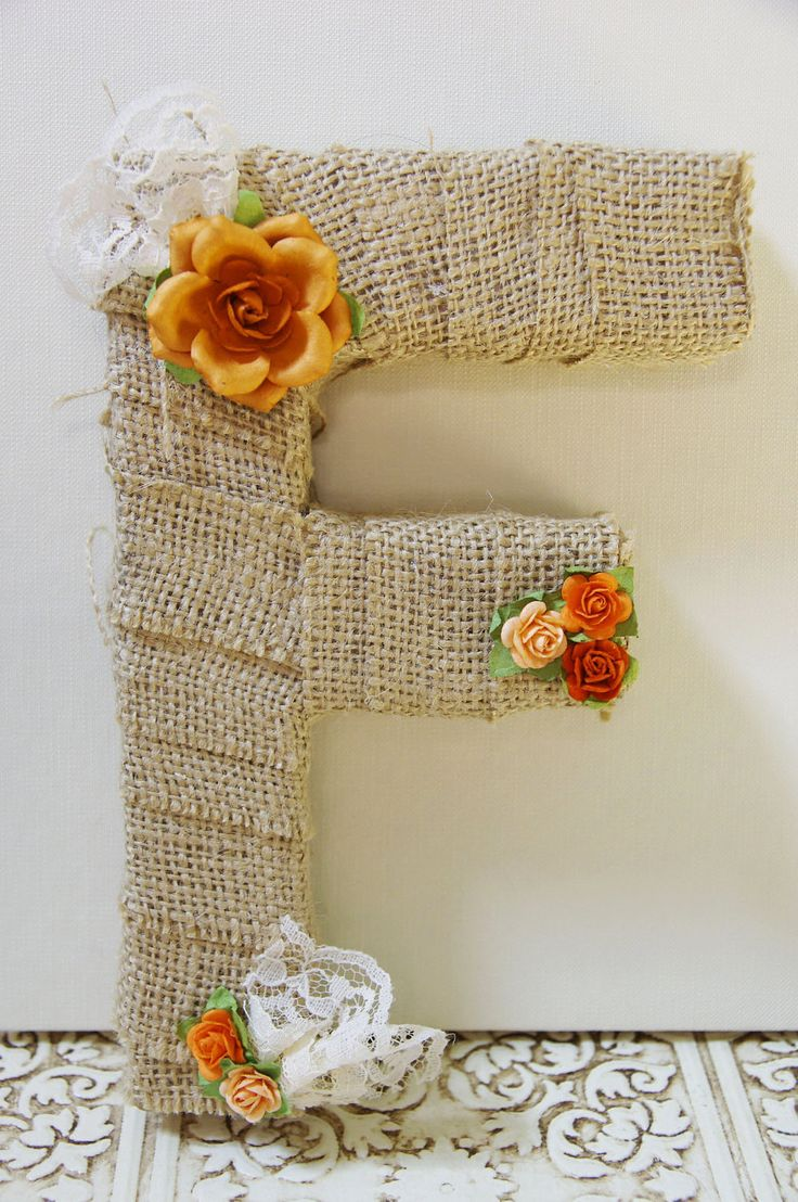 Burlap wrapped letter F - monogram, wedding decoration, cake topper, table centerpiece, photography prop