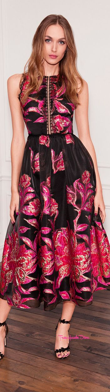 Marchesa Notte Spring 2018 RTW black and pink cocktail dress #MFW #MFWss18