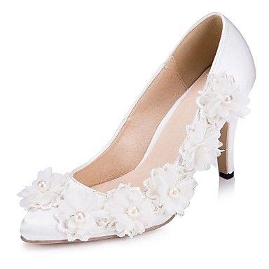 KADIN - Topuklar/Sivri Uçlu - İnce Topuk - Saten Pompalar / Topuklar ( Siyah/Mavi/Mor/Kırmızı/Fildişi/Beyaz ) – USD $ 47.99