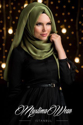 Chiffon Scarf hijab Khaki Green color.