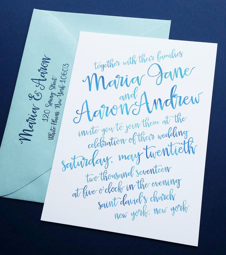 Maria Aqua Blue Watercolor Script Wedding Invitation Sample  {Description} The Maria wedding invitation features a gorgeous hand-lettered font with a blue and aqua watercolor effect, printed on a slight angle. This invitation measures 5 x 7, is professionally digitally printed on thick 120lb slightly textured white card stock and can be customized with the wording, fonts and colors of your choice.  Each invitation set includes one wedding invitation, one aqua invitation envelope printed with…