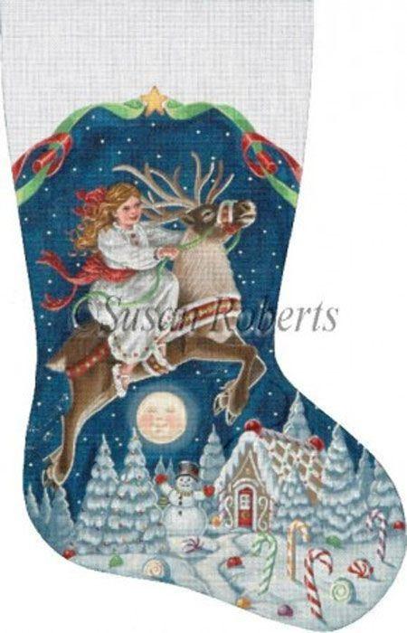 NeedlepointUS.com: Girl on Reindeer Hand Painted Needlepoint Stocking Canvas, Christmas Needlepoint, AXS426