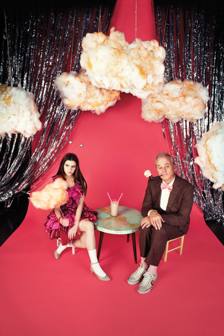 """Wes's World. On the release of Wes Anderson's Moonrise Kingdom, Bill Murray and Kara Hayward go to outer space while the director discusses his universe."" Harper's Bazaar, June issue. Photographed in New York City."