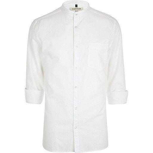 White grandad collar shirt - long sleeve shirts - shirts - men