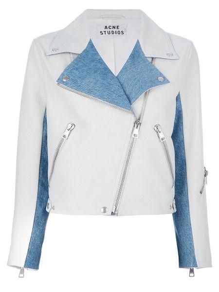 'Rita Denim' cropped biker jacket