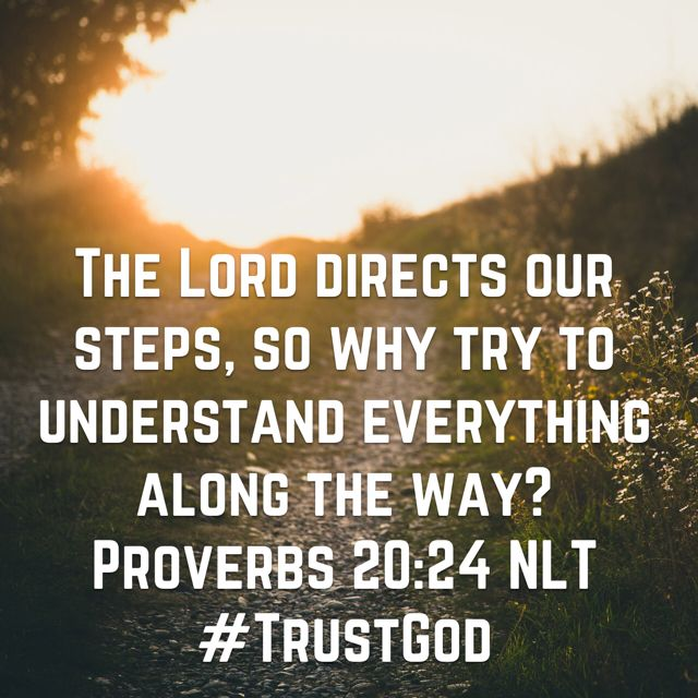 """The Lord directs our steps, so why try to understand everything along the way?"" ‭‭Proverbs‬ ‭20:24‬ ‭NLT‬‬ http://bible.com/116/pro.20.24.nlt"