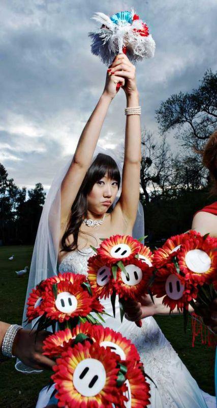 DIY Mario Bros bouquets :  wedding blue bouquet bridesmaids diy flowers red Mario Bros Bouquets