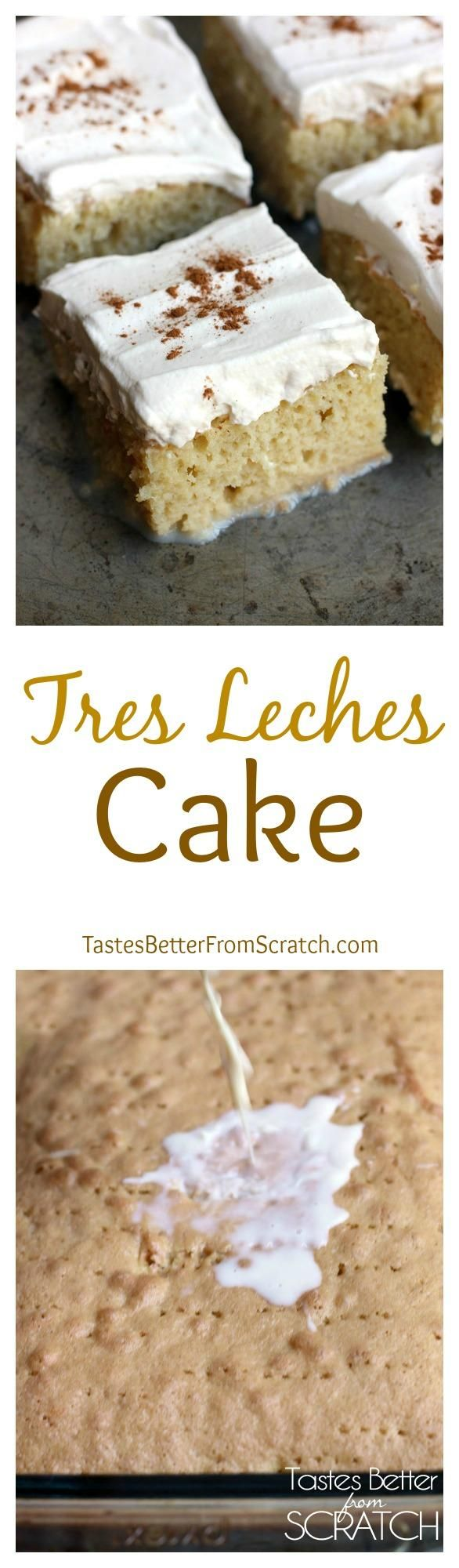 Tres Leches Cake on TastesBetterFromScratch.com