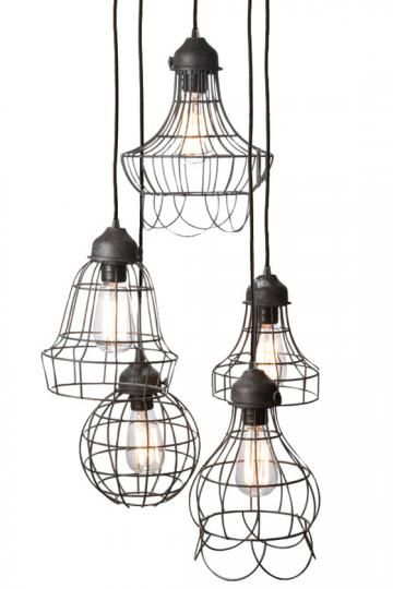 Wire Five-Light Pendant Light Your Home with Modern Yet Rustic Pendant Lighting Item # 09662 $488....would love this over my desk in my office!