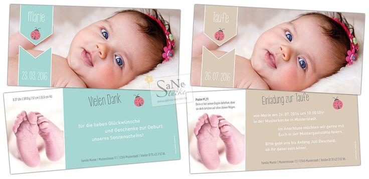Einladung zur Taufe oder Dankeskarte zur Geburt mit Glückskäfer