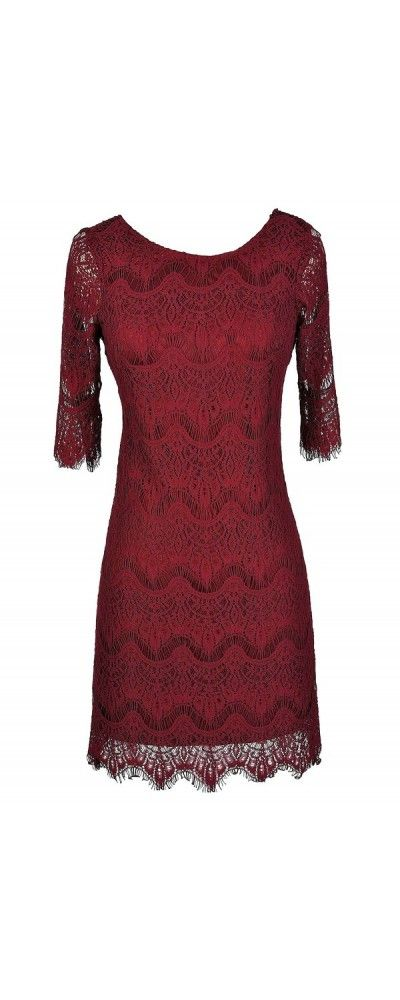 Vintage-Inspired Lace Overlay Dress in Wine  www.lilyboutique.com