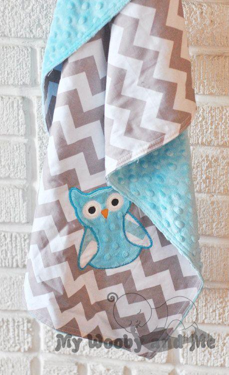 Baby Blanket - Minky Baby Blanket - Gray Chevron - Turquoise Minky Dot- Owl Applique 28x34 - Stroller Size - READY TO SHIP