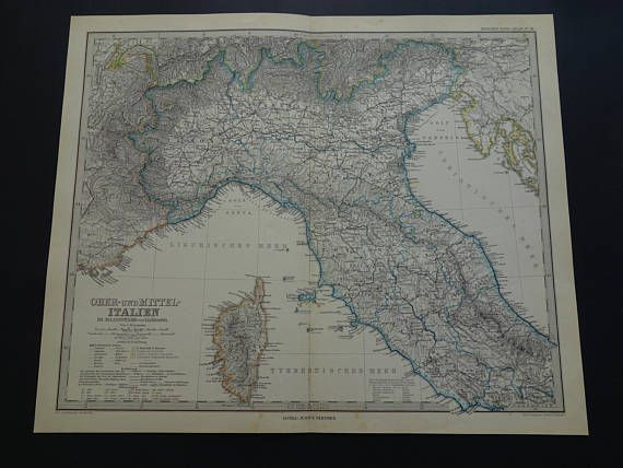ITALY antique map 1884 LARGE hand-colored old print poster of