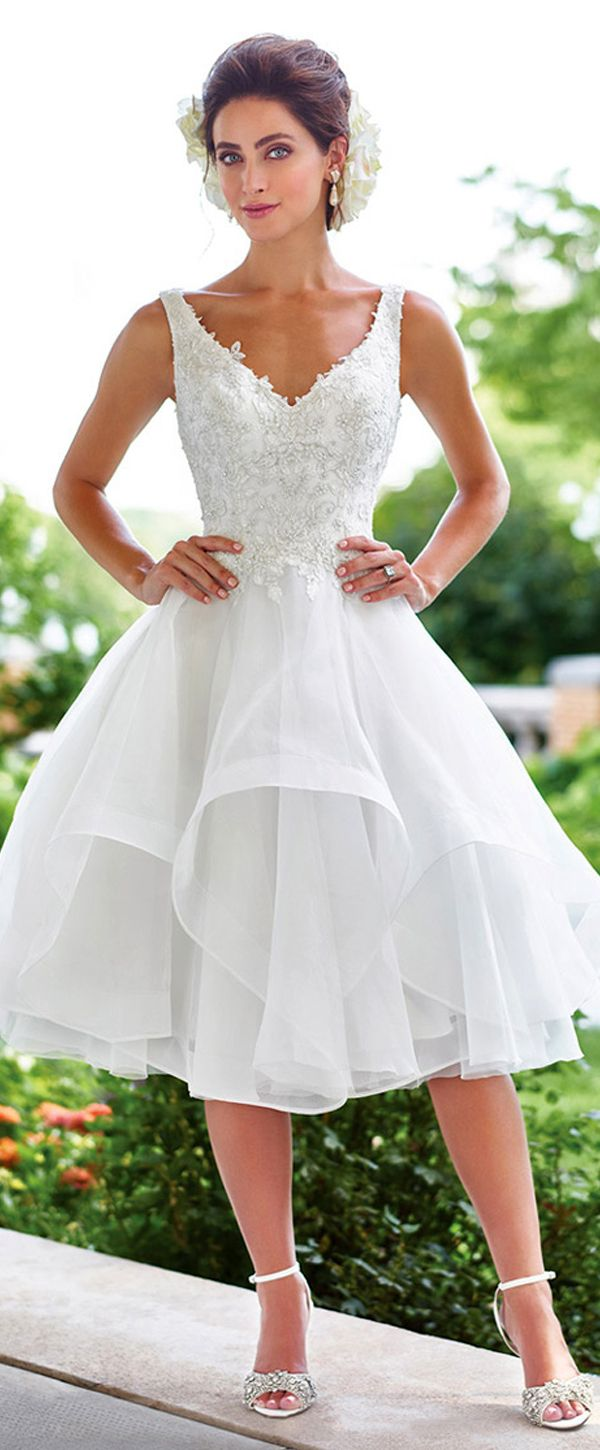 c7f7baf337c2b [146.39] Marvelous Tulle & Organa V-Neck A-Line Wedding Dresses With Beaded  Lace Appliques in 2019 | ♡ UNIQUELY ME ♡ | Wedding dresses, Tea length  wedding ...