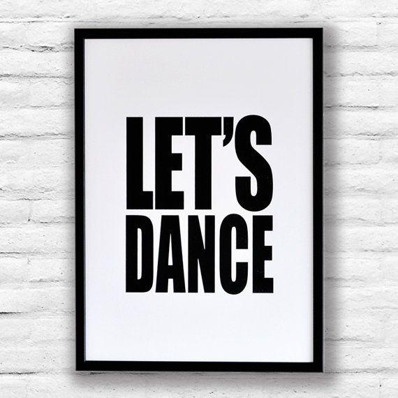 David Bowie LETS DANCE Screen Print - impression typographique de noir et blanc sur Etsy, $41.60 CAD
