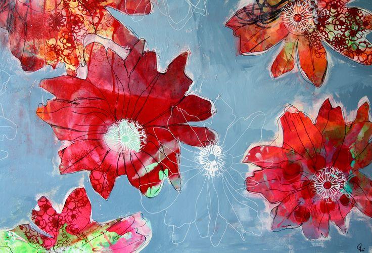 Flowers, blomster, maleri, painting, collage, Abstrakt, art, udstillinger, kursus, akrylmaleri, Rie Brødsgård, Kolding, galleri.