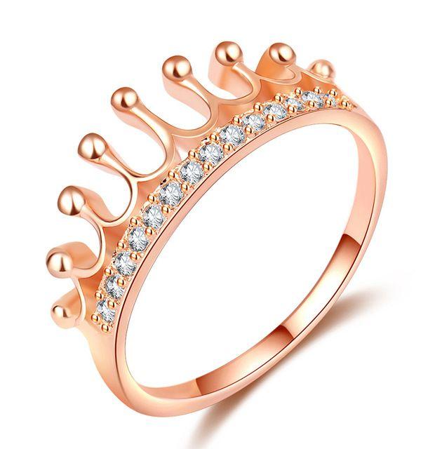 Роскошные ювелирные изделия 8ct Solitaire роскошь серебра 925 11 мм Большой AAA CZ имитация камни обручальное кольцо Роза Золотая Корона женские кольцо