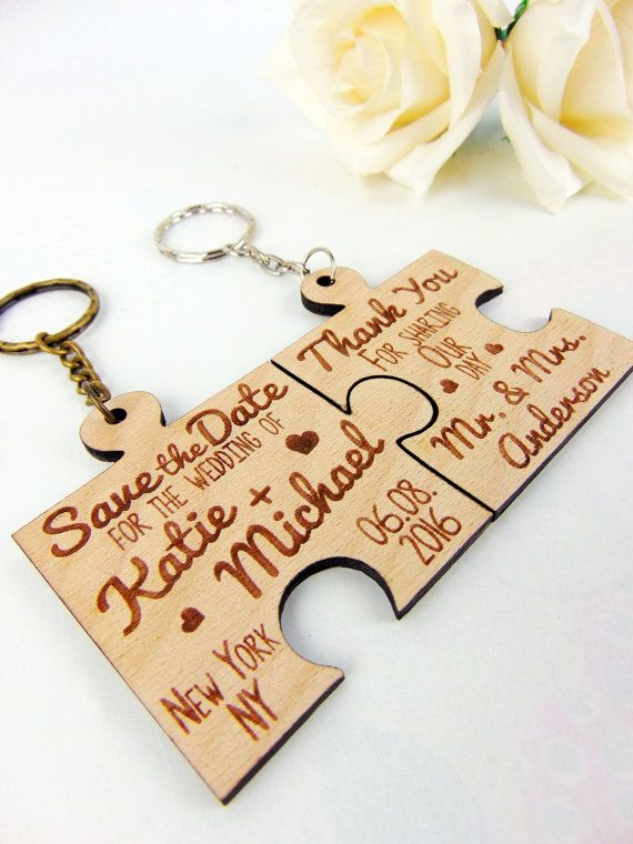 Custom Puzzle Save the Date & Thank You by YourWeddingProject #YourWeddingProjectEtsy #Keychain #Wedding