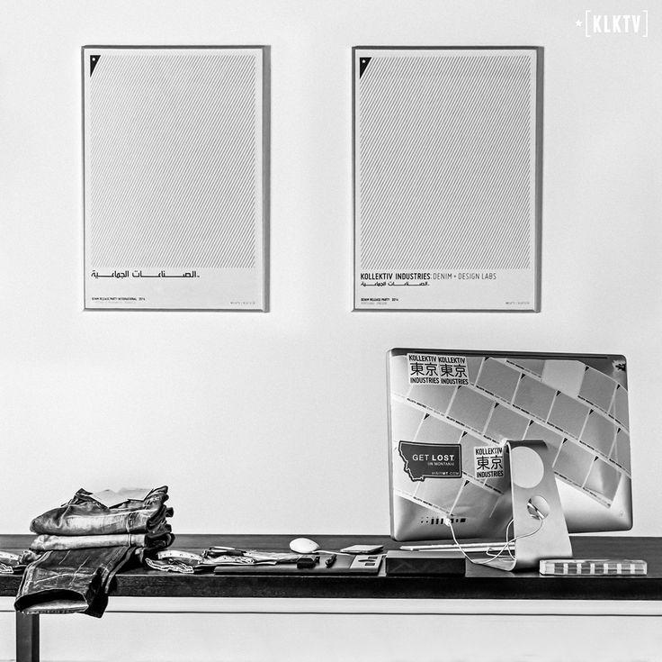 Kollektiv Industries: Denim + Design Labs workstation //  Metal Picture Frames. Stickers. Jeans.