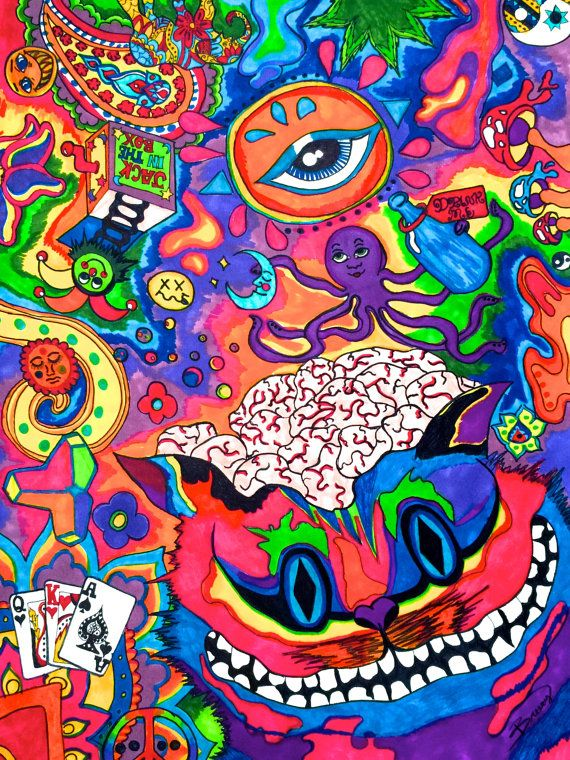Drawn Cheshire Cat Psychedelic Art 4 570 X 760