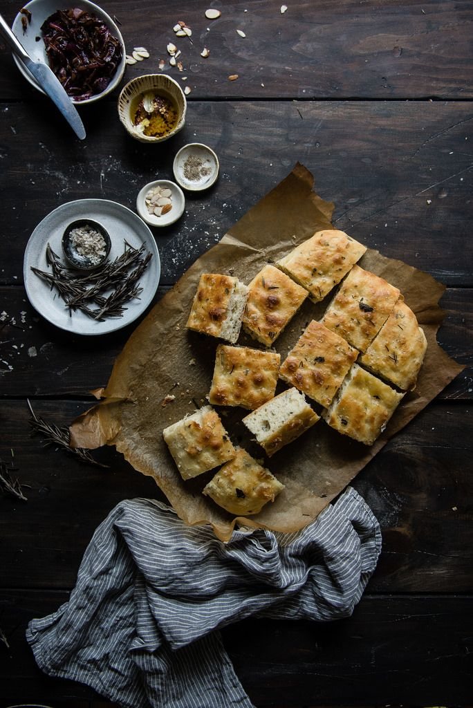 herbed focaccia & pimento romesco | two red bowls