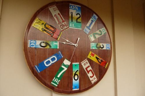 clock from old car tags