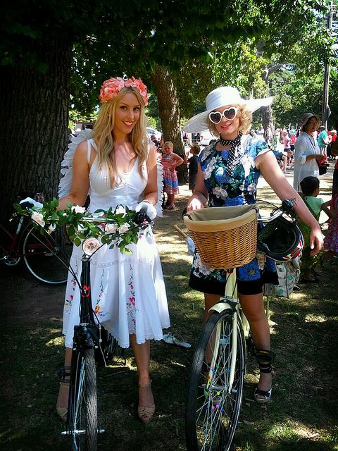 Me at Ballarat begonia festival with my sis, representing the Ladies Classic Bicycle Association on Ballarat