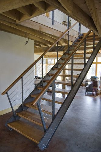 Stairs and catwalk railing.    steel and cherry stair - modern - staircase - burlington - Bluetime Collaborative