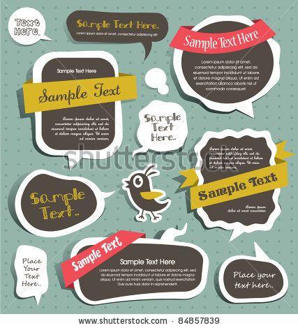 stock vector : cute scrapbook elements, speech bubbles, text box...like the white border around the art