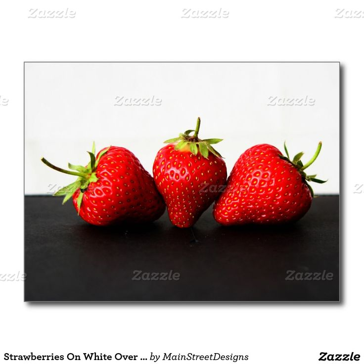 Strawberries On White Over Black Postcard