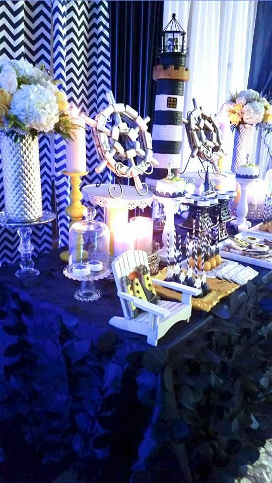 Blue And White Nautical Baby Shower Dessert Table